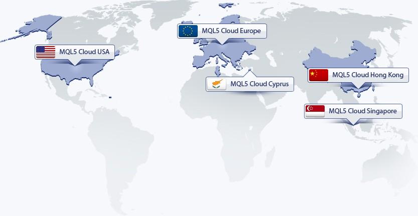 Распределенная сеть MQL5 Cloud Network на карте мира