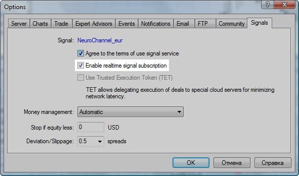 """转到客户端设置并检查""""信号""""标签中的两个选项"""