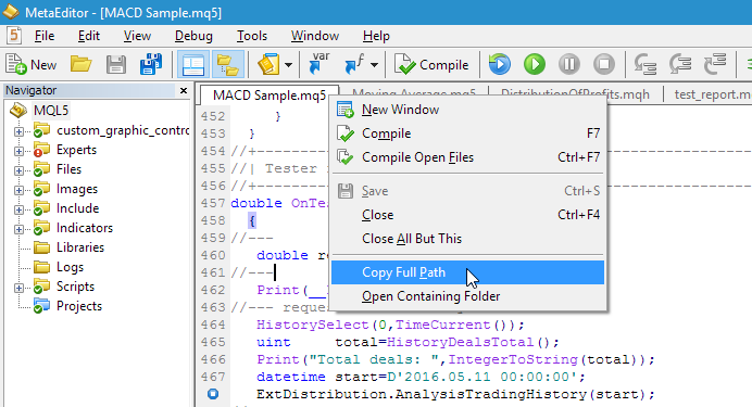 Then right-click on the desired mq5-file and select the menu item: