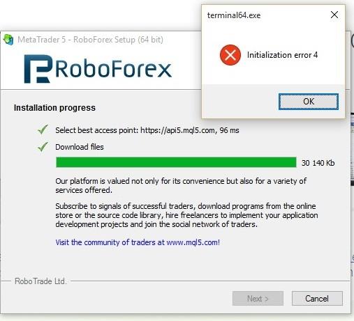 Initialization Error 4 Windows 10 Home Mt5 General Mql5