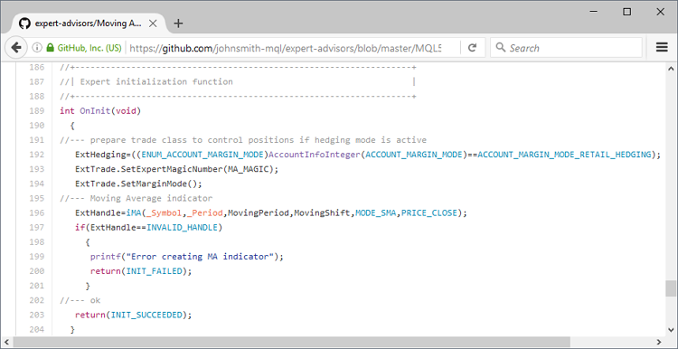 Syntax highlighting in source code viewing mode