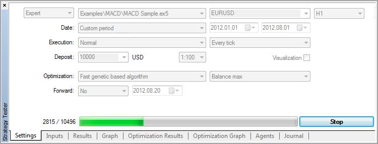 MACD Sample Optimization Settings