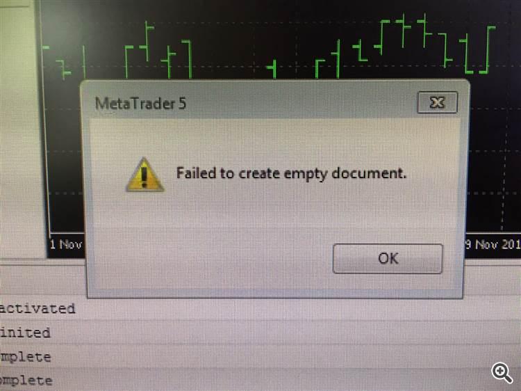 Failed to create empty document