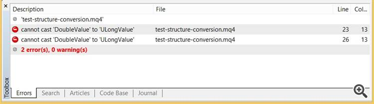 Structure conversion bug
