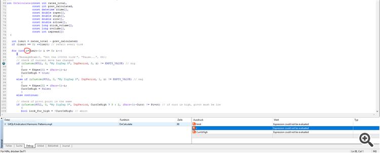 Meta Editor interface while testing an indicator
