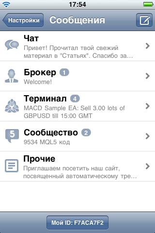 5 категорий сообщений в MetaTrader 5 iPhone