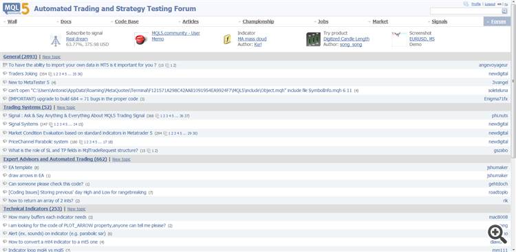 Forum with default view