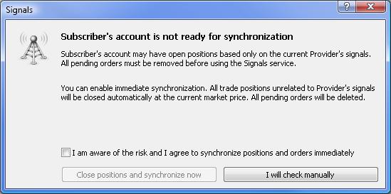 A Conta do assinante não está pronta para a sincronização