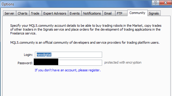 community login in Metatrader