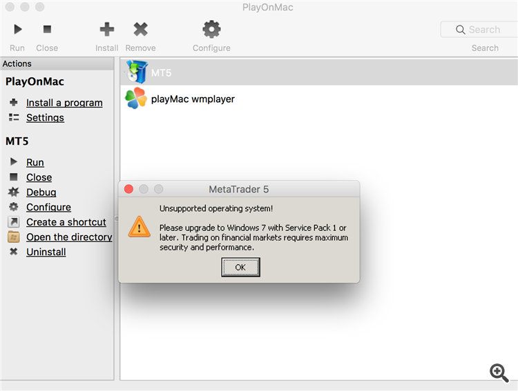 play my mac error message