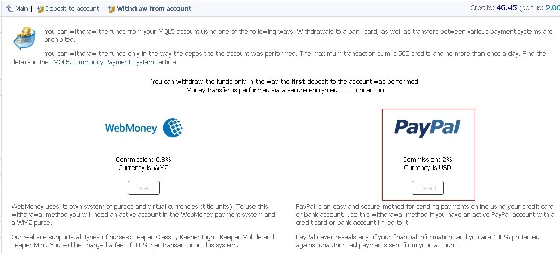 I can not withdraw money  paypal button unselected - Withdraw