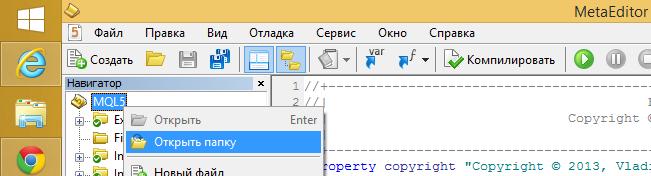 Открыть папку с MQL5