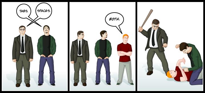 Tab spaces debate