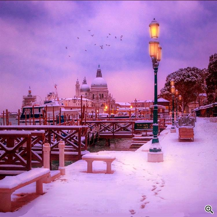 Snowy winter evening at Venice or Venezia Italy