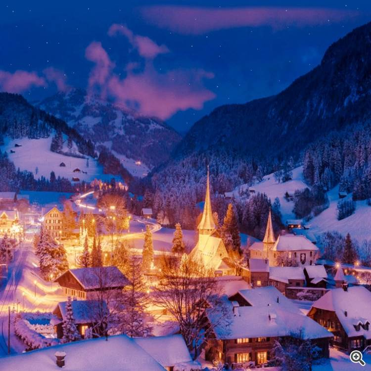 Beautiful winter evening and old village in the mountain