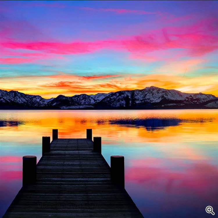 Colorful evening at lake Tahoe and Sierra Nevada mountains in California