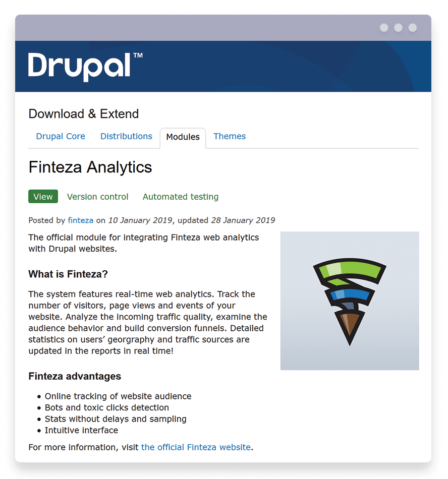 The Finteza Analytics module for Drupal websites