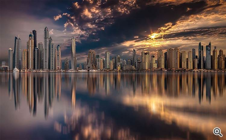 Dubai Skyline During Sunset
