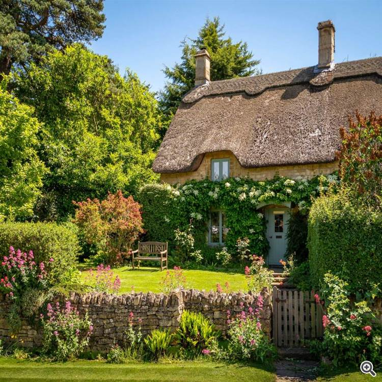 Vintage thatched cottage and British country garden