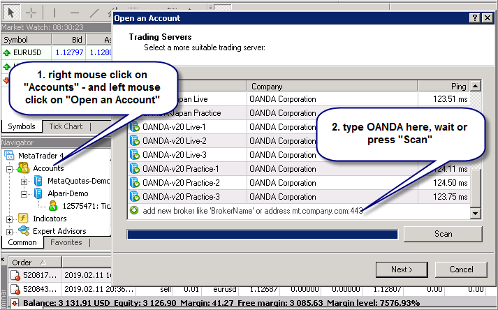 Can't login to OANDA - Trading Practice - General - MQL5