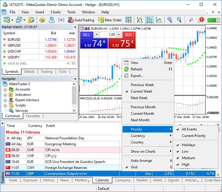 MetaTrader 5 Platform Beta Build 1995: Economic Calendar