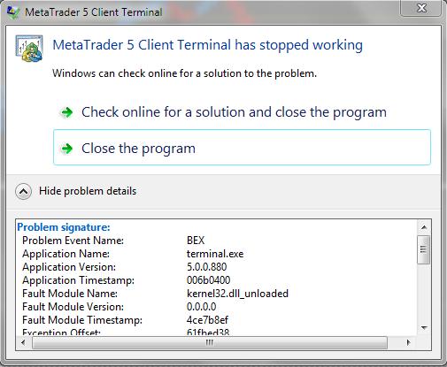 terminal shutdown, please help  - Spreads - General - MQL5