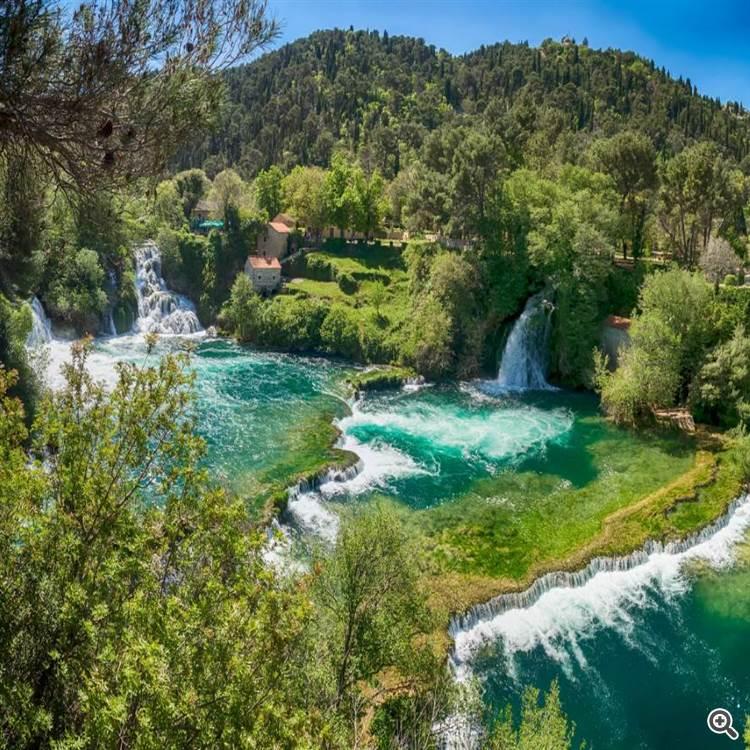 Stunning waterfalls and woods in Krka national park Croatia