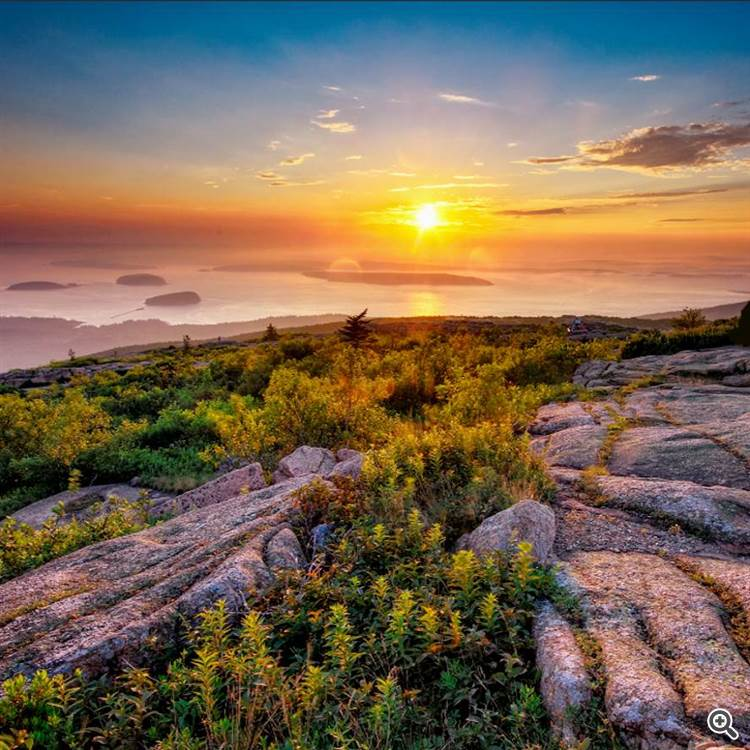 Sunrise at Acadia national park and Cadillac mountains in New England