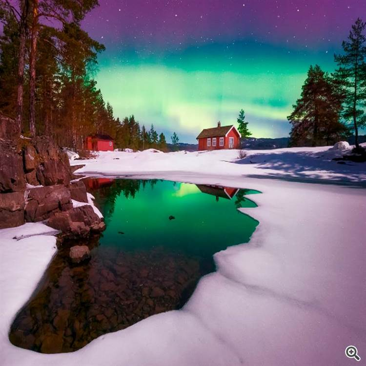 Aurora borealis or northern lights night and cabin