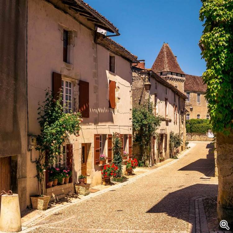 Antique houses and French village in Canton of Thiviers in Dordogne France
