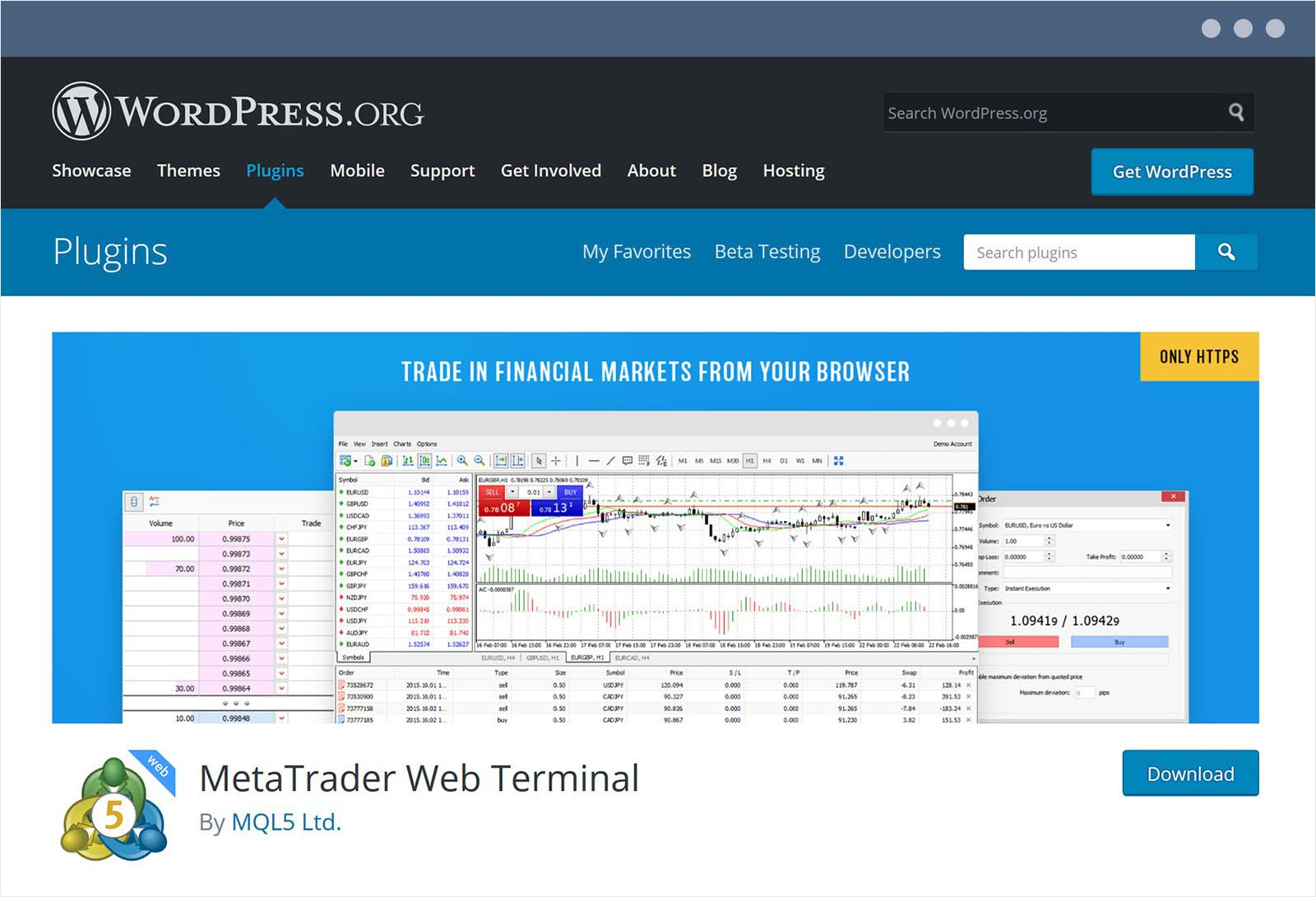 MetaTrader web terminal plugin for WordPress