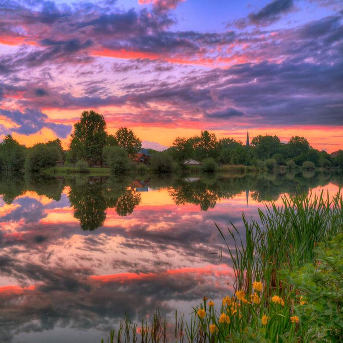 Peaceful lake and colorful morning reflection