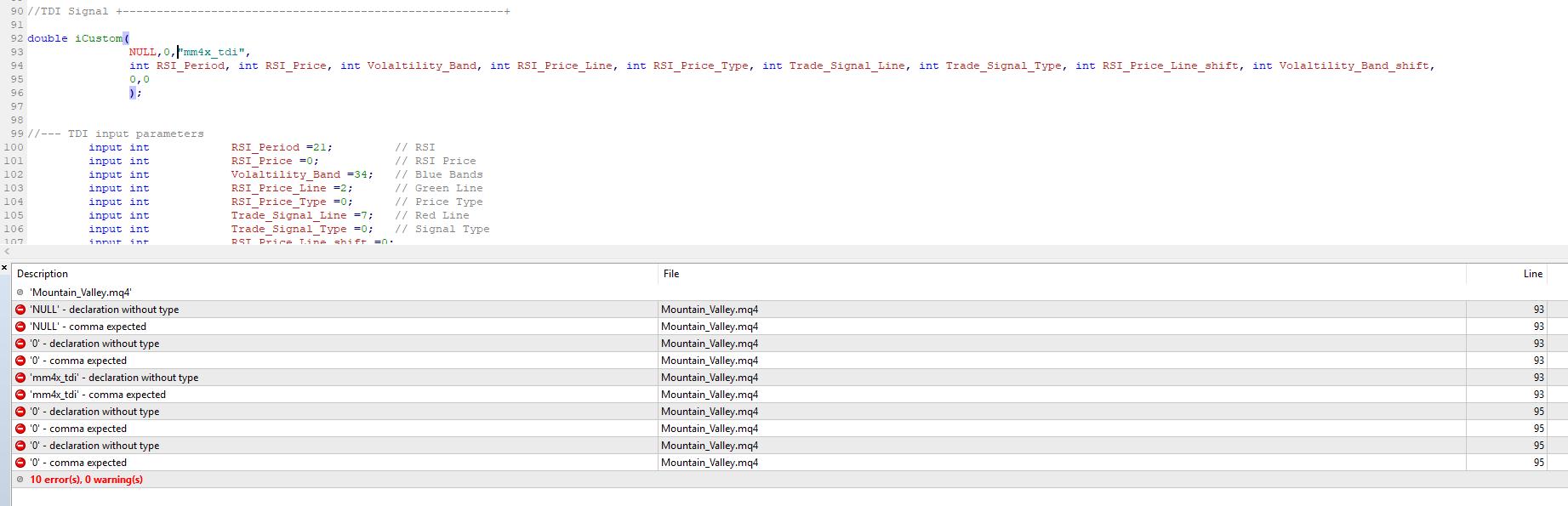 HELP NEEDED : New to MQL4 Coding >>> iCustom Error - Trading