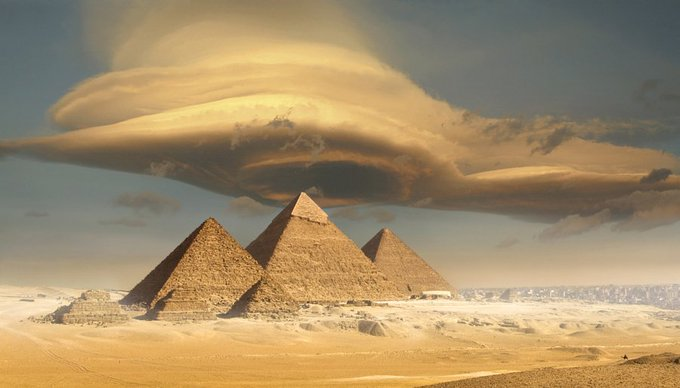 Lenticular clouds over The Egyptian pyramids