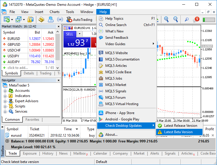 MetaTrader 5 platform beta build 2055: Integration with