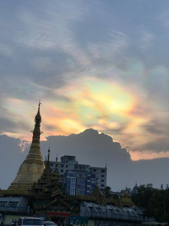 Iridescent clouds in Yangon, Burma