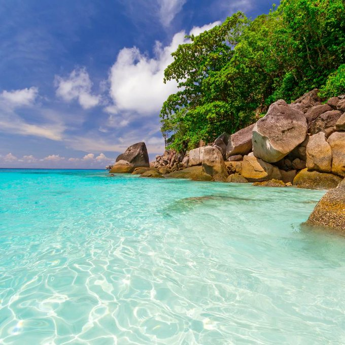Caribbean sea beach with clear water and blue sea
