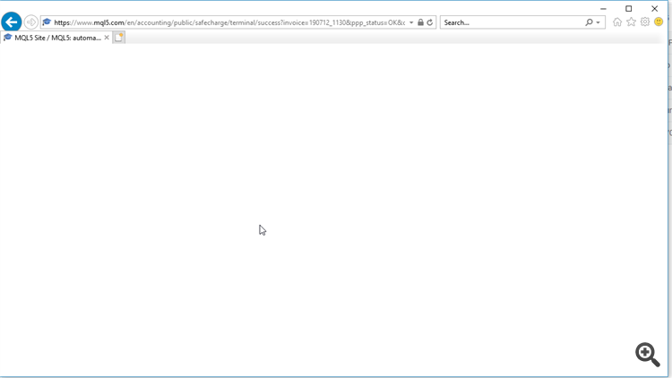 White screen of payment