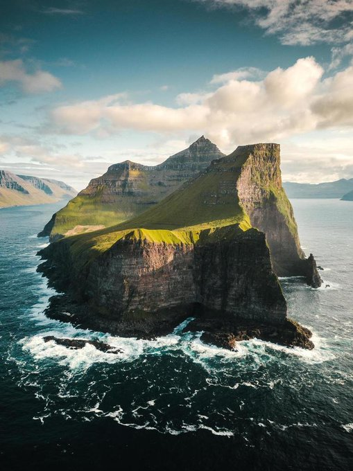 Aerial view of the Island of Kalsoy, Faroe Islands