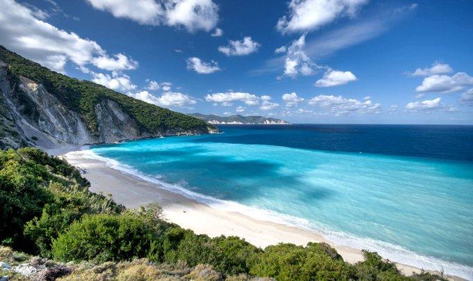 Mediterranean sea coast with spectacular deep blue jade water