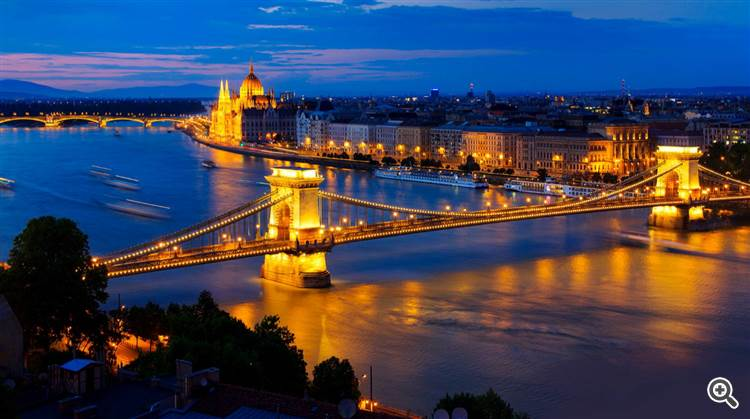 Beautiful Budapest old town and Danube river at sunset Hungary