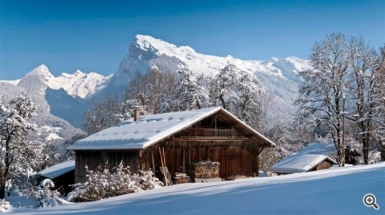 Landscape and French Alps at Bonneville in Haute-Savoie France