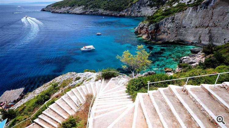 Stunning blue Mediterranean sea at Zakynthos Greece