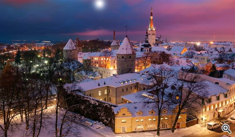 Winter evening at Tallinn a medieval old town in Estonia