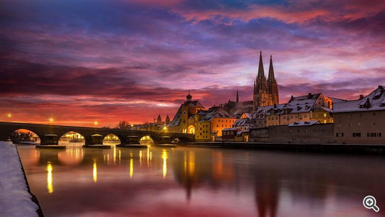 Winter night and Danube river at Regensburg Germany