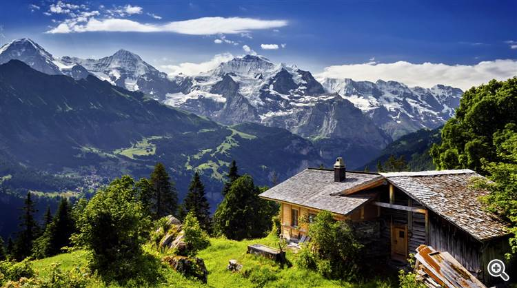 Mountain hut with scenic view over the alps