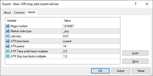 Basic ATR based take and stop expert adviser - expert for MetaTrader 4