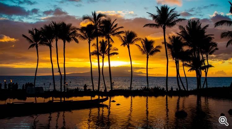 Golden sunset on tropical beach