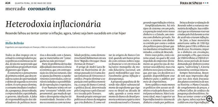 Heterodoxia Inflacionária - por Hélio Beltrão