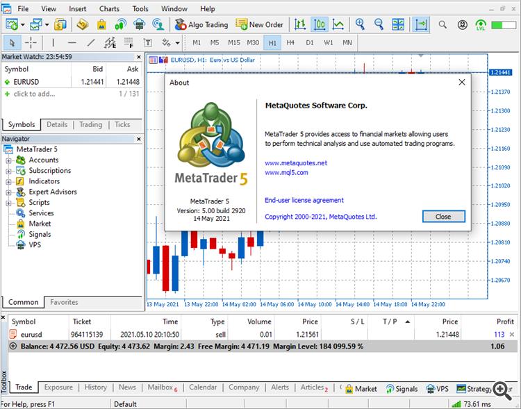 MetaTrader 5 platform beta build 2920
